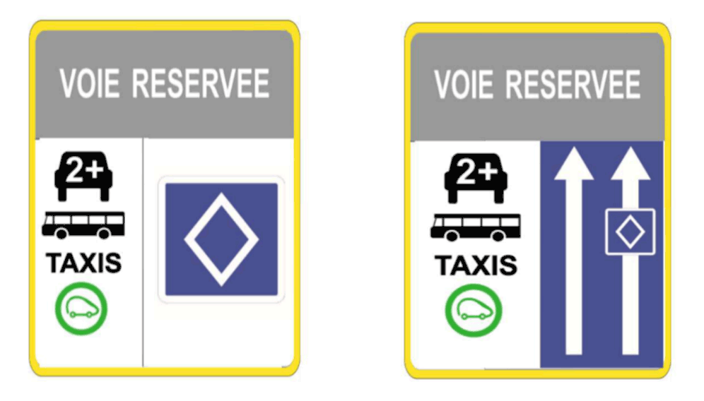panneaux voies réservées co-voiturage
